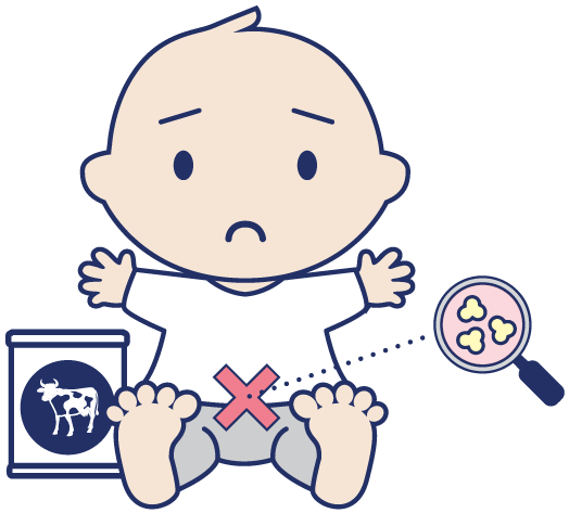 graphic of baby with magnifying glass showing cow milk curd in tummy