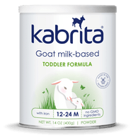 A tin of Kabrita Goat milk-based toddler formula. Labelled as 14 oz for 12-24 month olds.