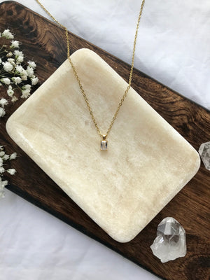 14K Gold Filled Delicate Emerald Cut Necklace