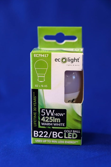 GOLF LED Light Bulb 5 Watt B22 Warm White from the Batteryworldshop.com