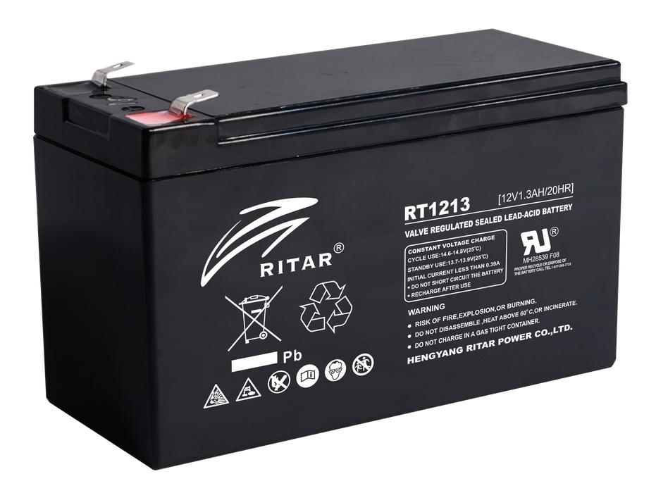 12 Volt 1.3Ah Sealed Lead Acid Battery
