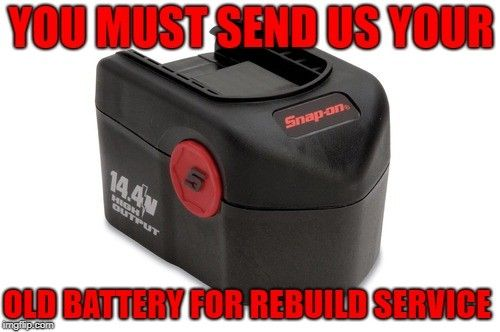 Snap On 14.4 Volt Nickel Cadmium Battery (Ni-Cd) - Rebuild Service To 3Ah - Power Tool Rebuild