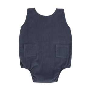 blue corduroy sleeveless onesie with front pockets
