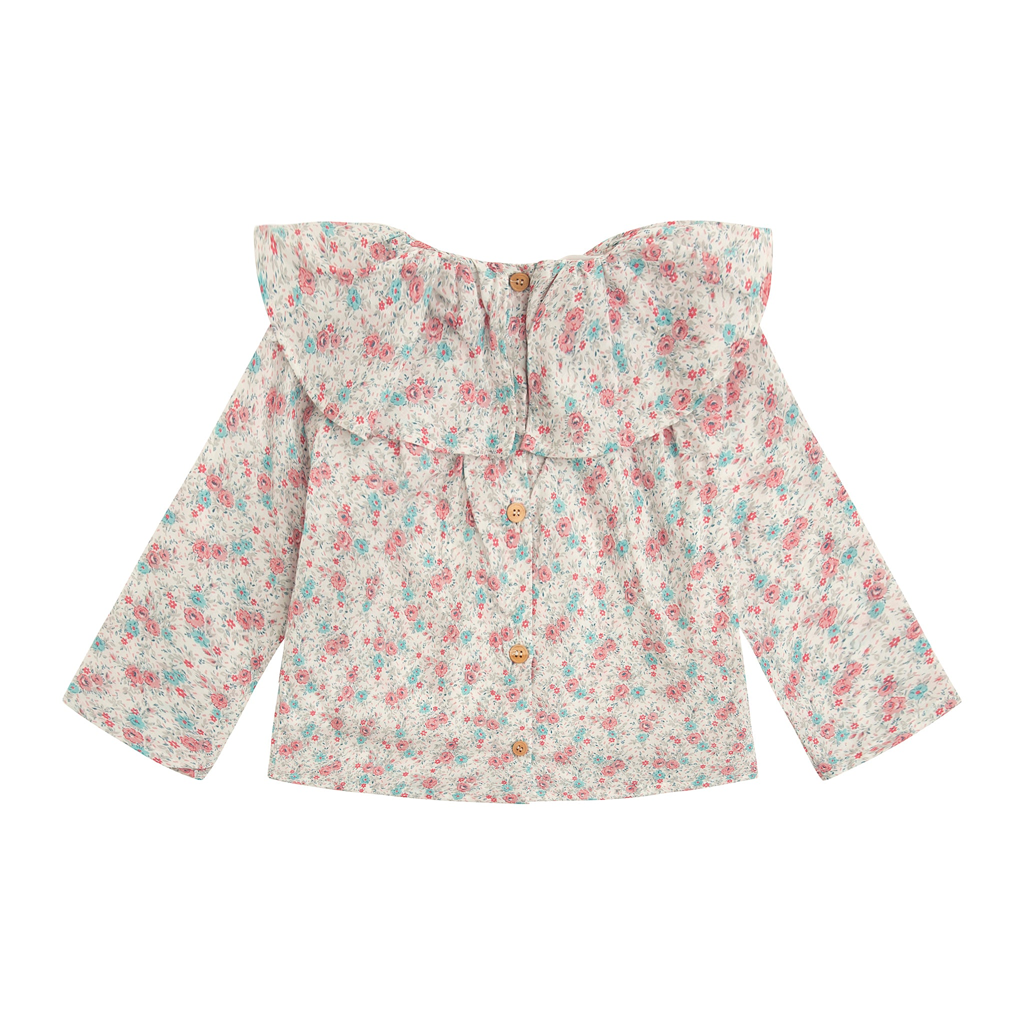 girl blouse in floral print with wide ruffle collar and wooden buttons down the back.