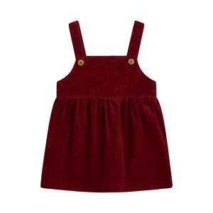 Short burgundy corduroy jumper dress with wooden buttons