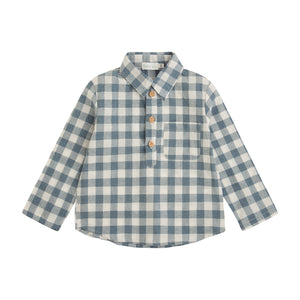 boys collared shirt with front pocket and wooden buttons half way down