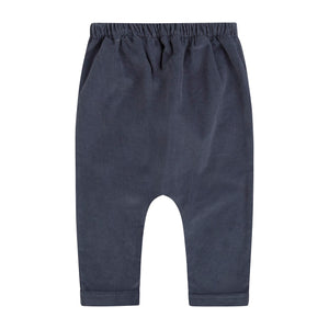 blue baby corduroy jogger pants with elastic waist for boy or girl