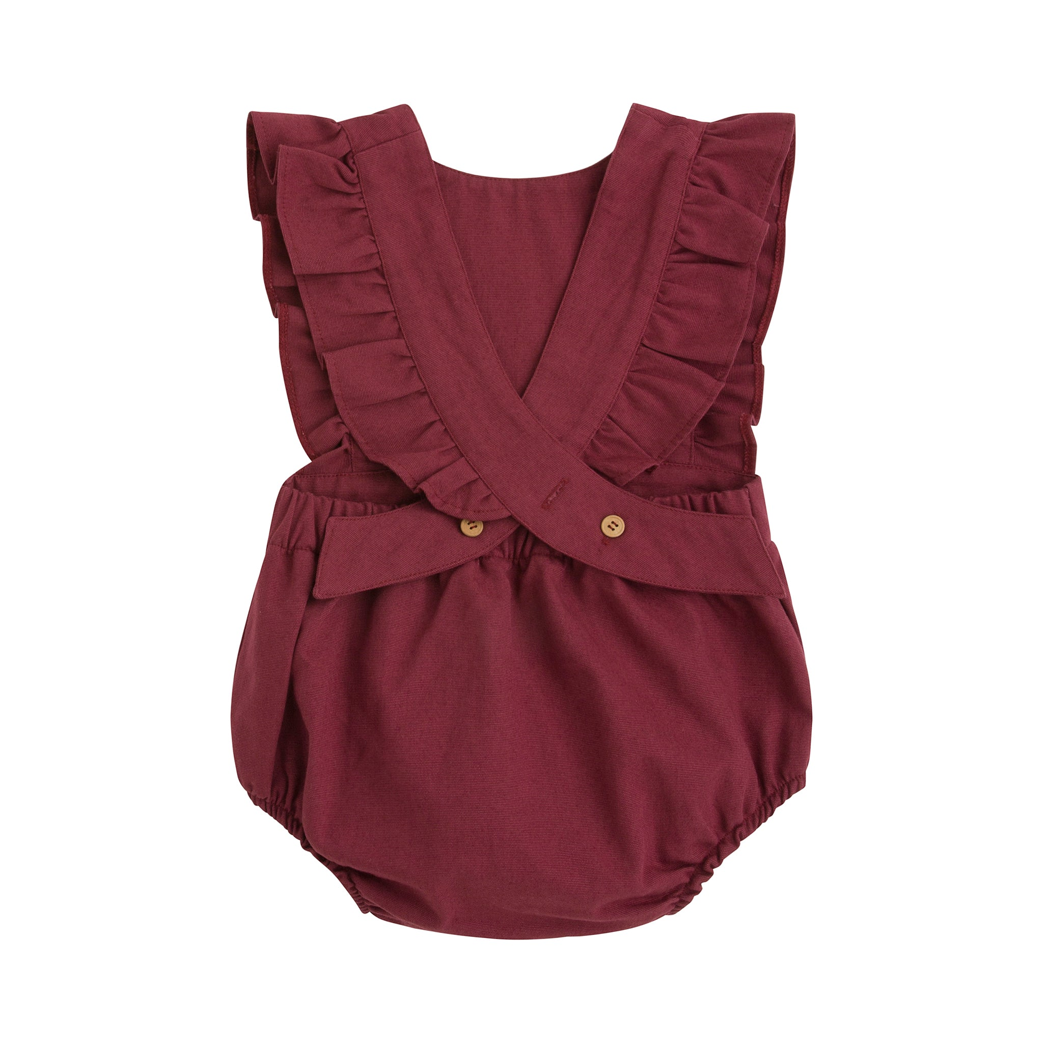 baby girl burgundy canvas romper with ruffle trim and wooden button closure in back