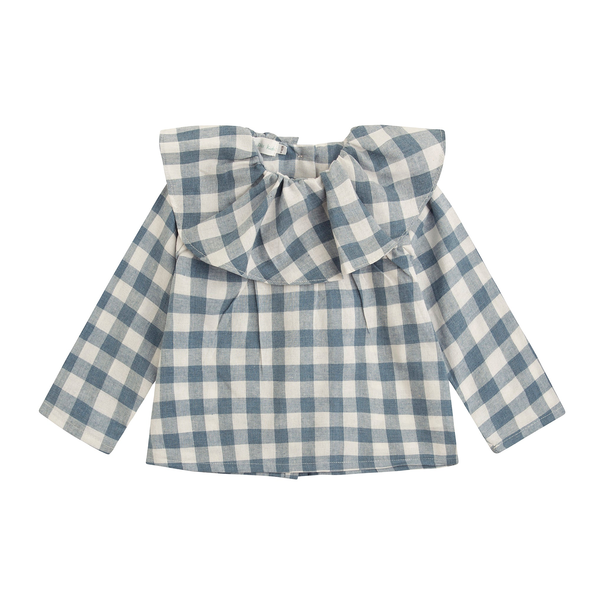 girl blouse in blue buffalo check with wide ruffle collar and wooden buttons down the back