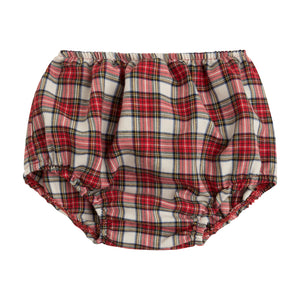 red plaid baby bloomers with elastic waist and leg holes for boy or girl