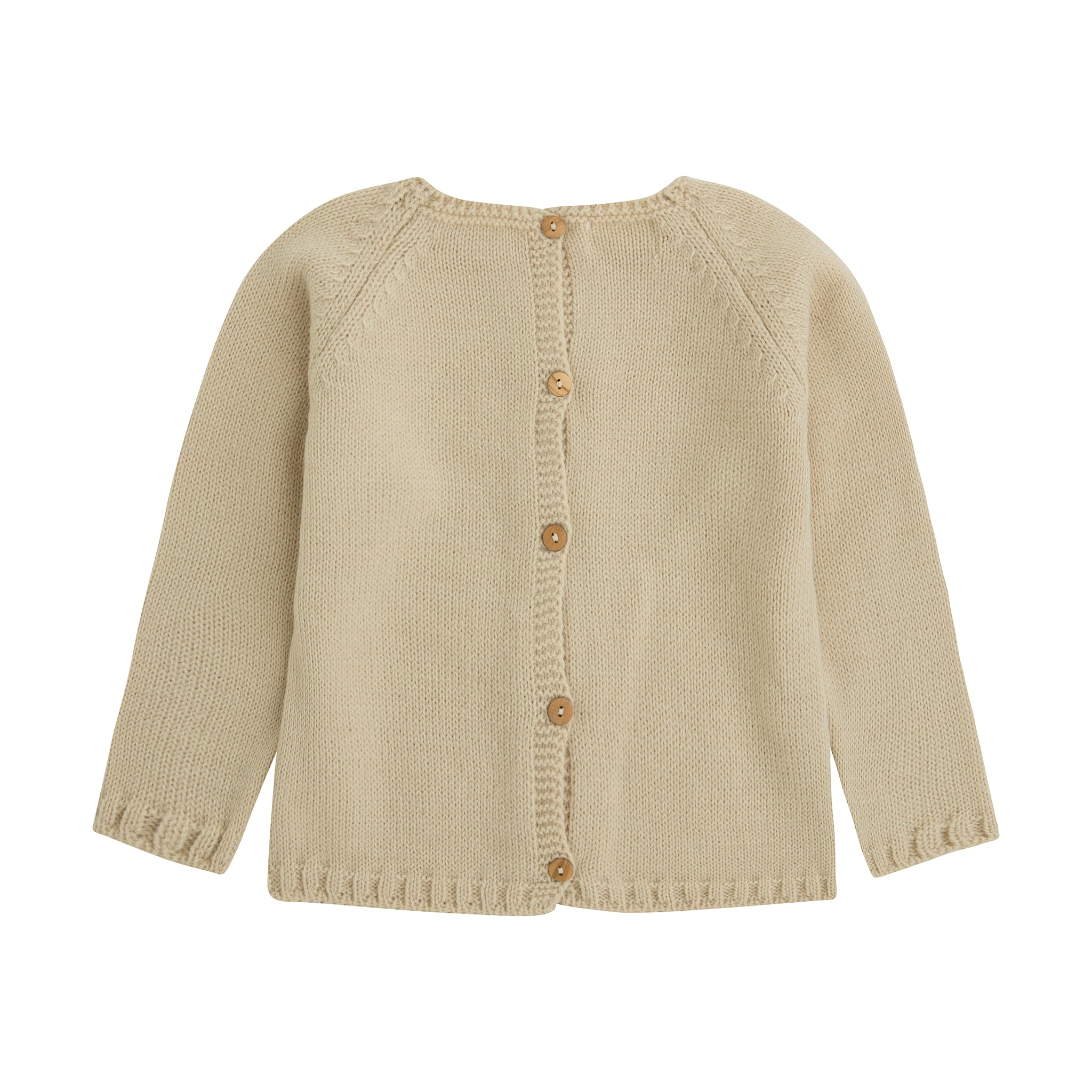 light camel knit baby sweater with wooden buttons down the back