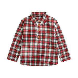red plaid boys collar shirt with wooden buttons half way down and left chest pocket