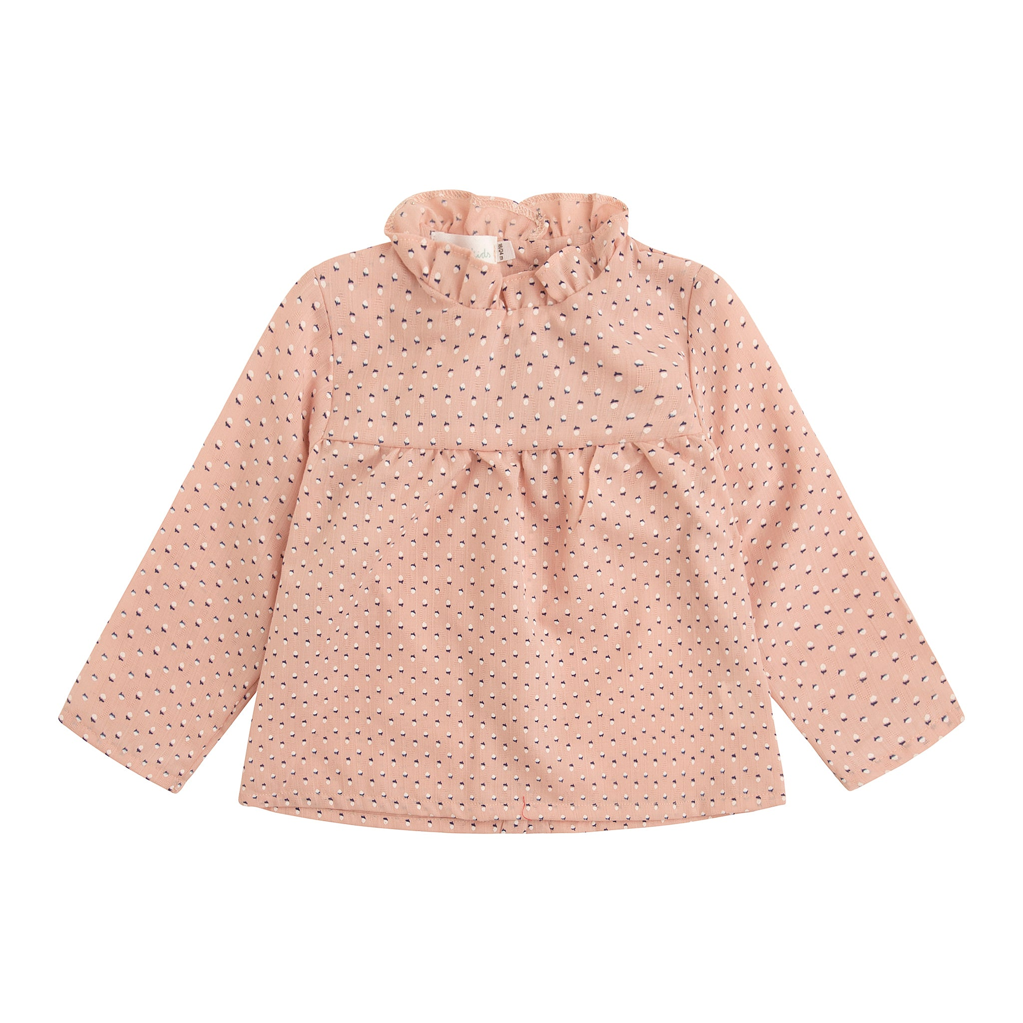 blush pink tiny scorn print girl's blouse with gathered collar