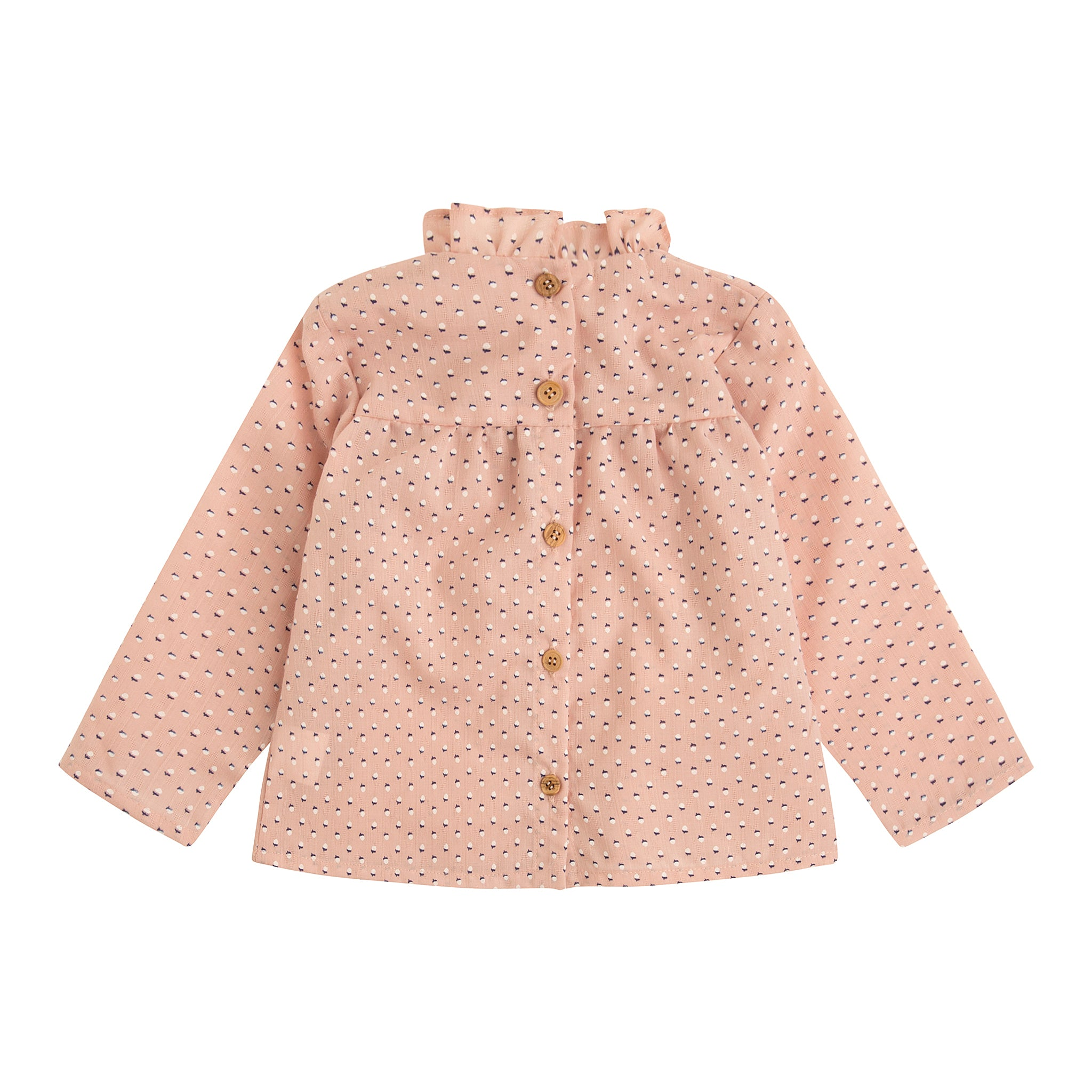 back view blush pink tiny scorn print girl's blouse with gathered collar and wooden buttons down the back