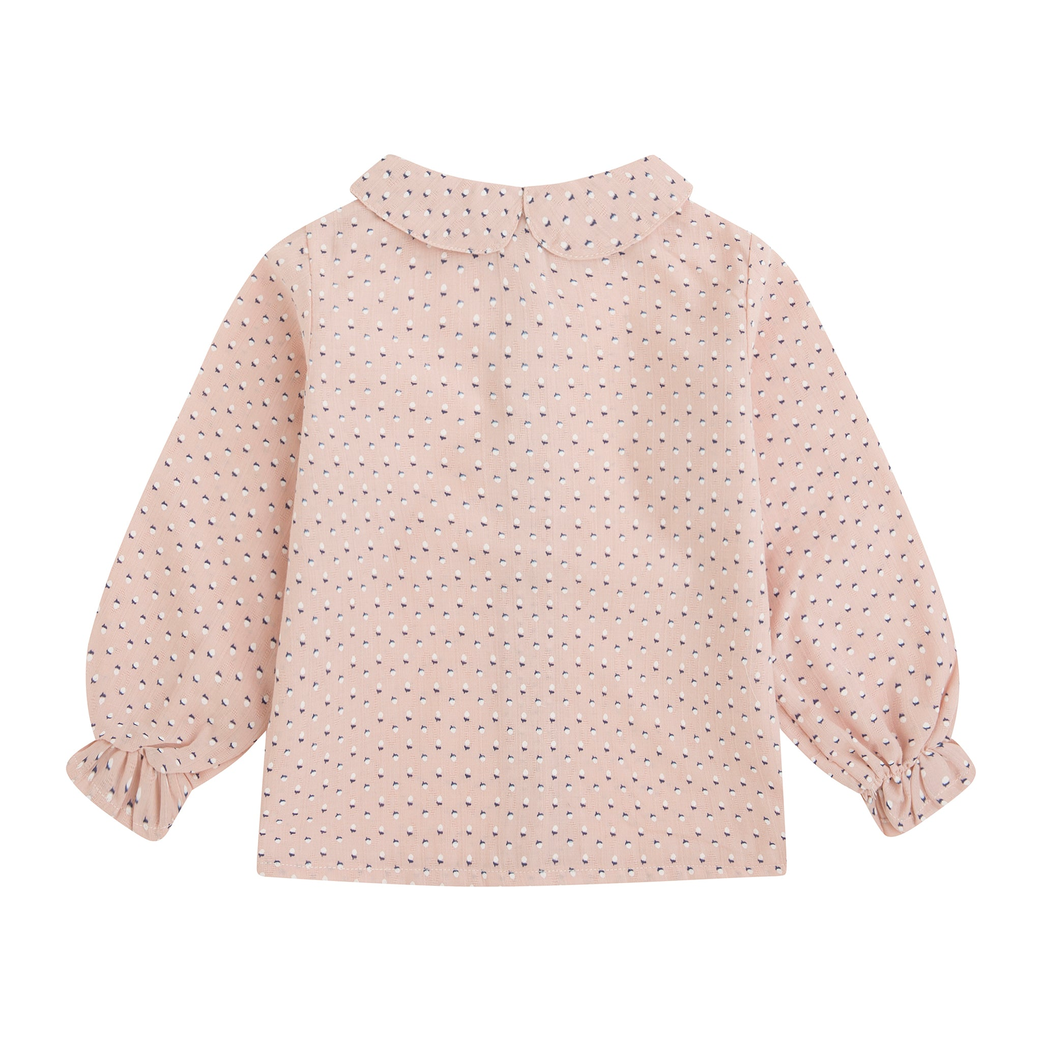Baby girl tiny nut print with blush pink background blouse. Peter pan collar and wooden buttons down the back.