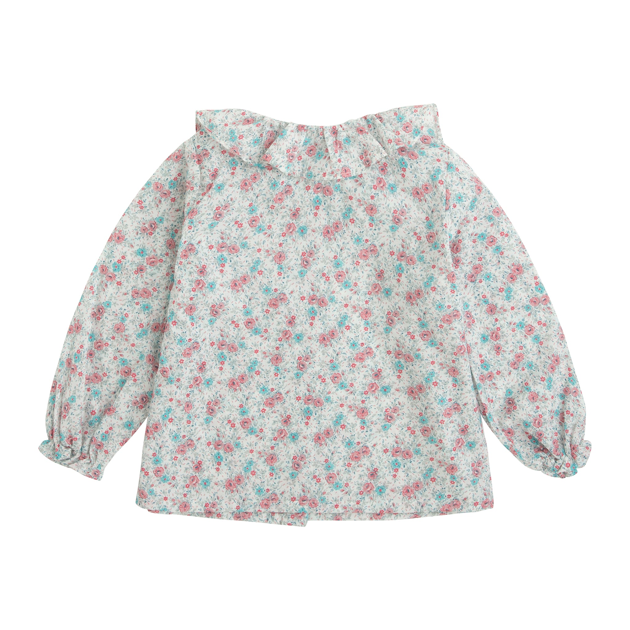 baby girl blouse in floral print with ruffle collar and wooden buttons down the back