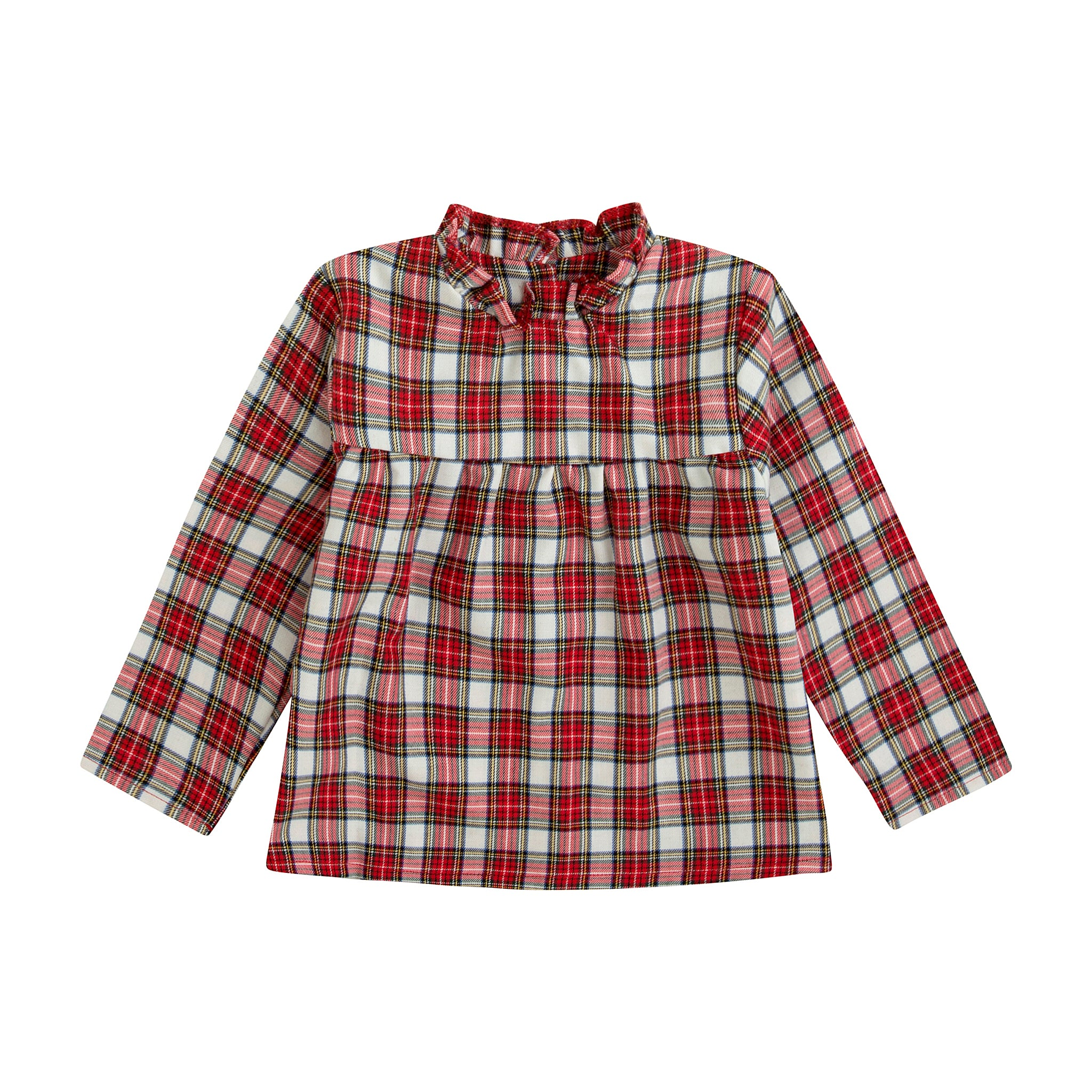 Red plaid print girl's blouse with gathered collar, empire waist and wooden buttons down the back