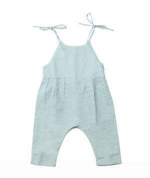 light green baby pant romper with tie straps