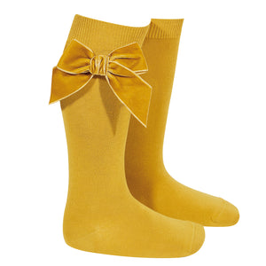 Knee High Velvet Bow Socks- Curry