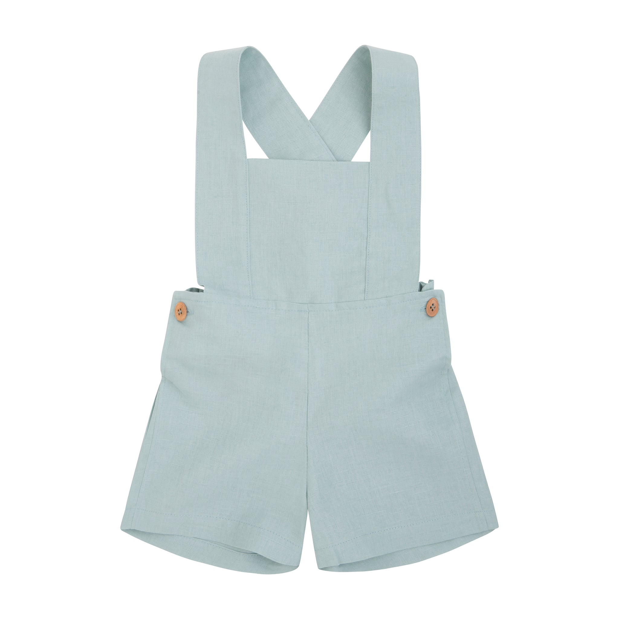 light green linen boy short overalls