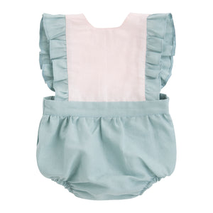 light green and pale pink linen baby girl romper