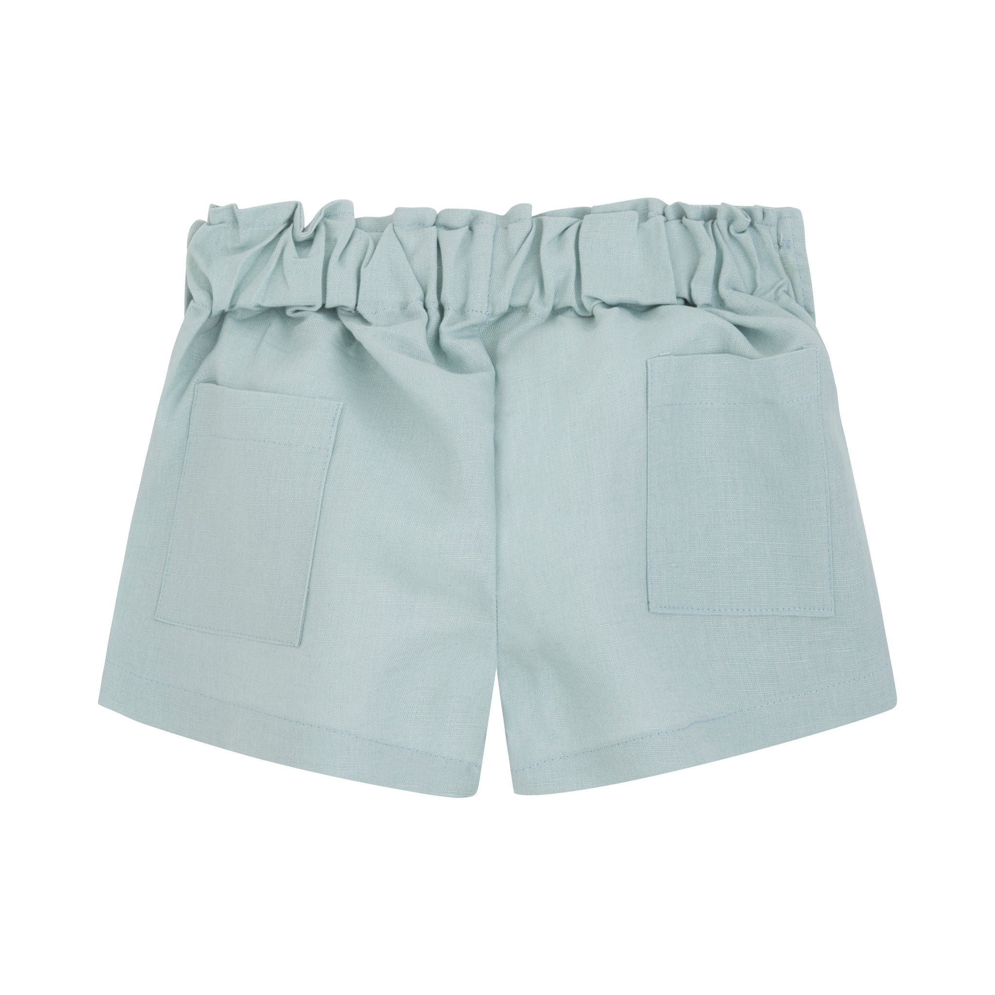 light green linen shorts with wooden side buttons, back pockets and elastic waist in back.