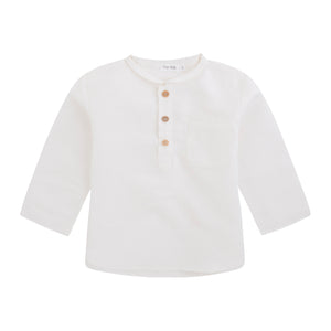 Boy's white linen shirt with banded collar, front pocket and 3 wooden buttons