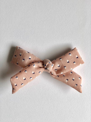 blush pink bow with tiny acorn pattern and metal snap clip