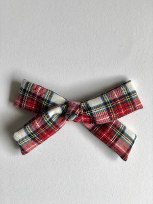girl hair bow in red plaid with metal snap clip