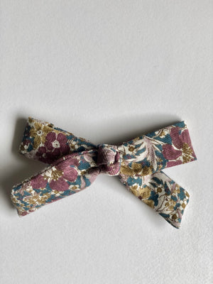 floral hair bow with metal snap clip