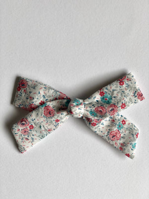 hair bow in floral print with metal snap clip