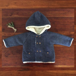 knit blue baby coat with sherpa lining, wooden buttons and hood