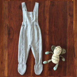 Grey knit baby overalls