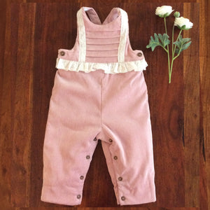 rose colored baby girl corduroy overalls