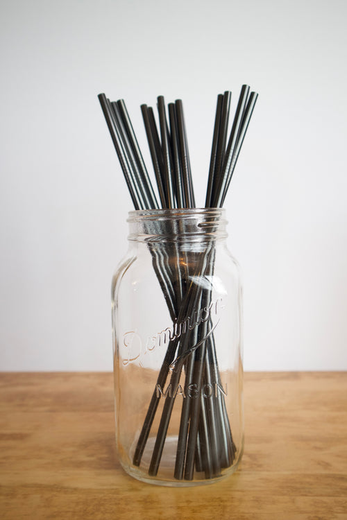 Stainless Steel Straw - Long / Black / Straight