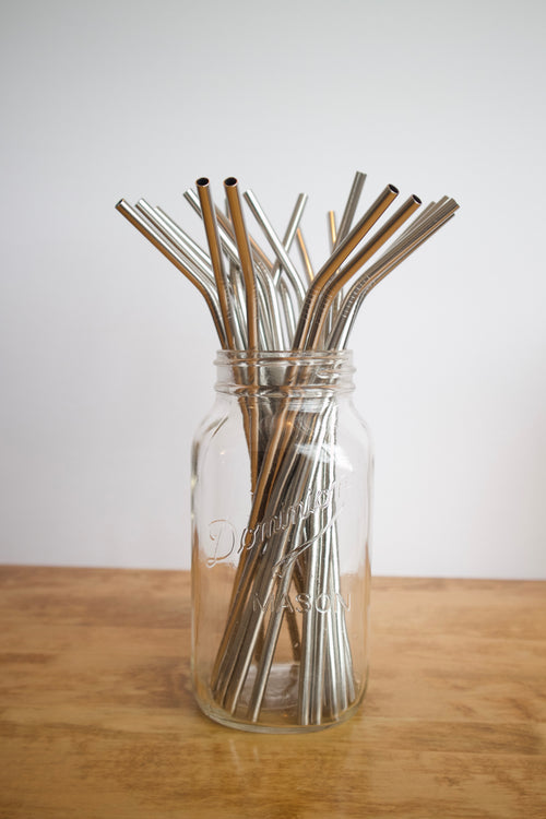 Stainless Steel Straw - Long / Silver / Bent