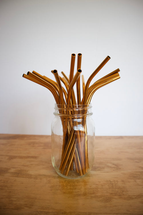 Stainless Steel Smoothie Straw - Wide / Copper / Bent