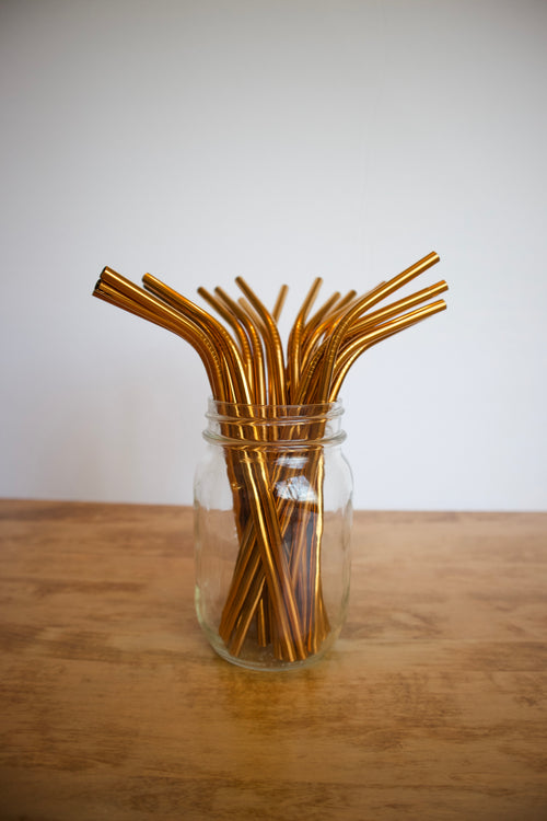Stainless Steel Straw - Medium / Copper / Bent