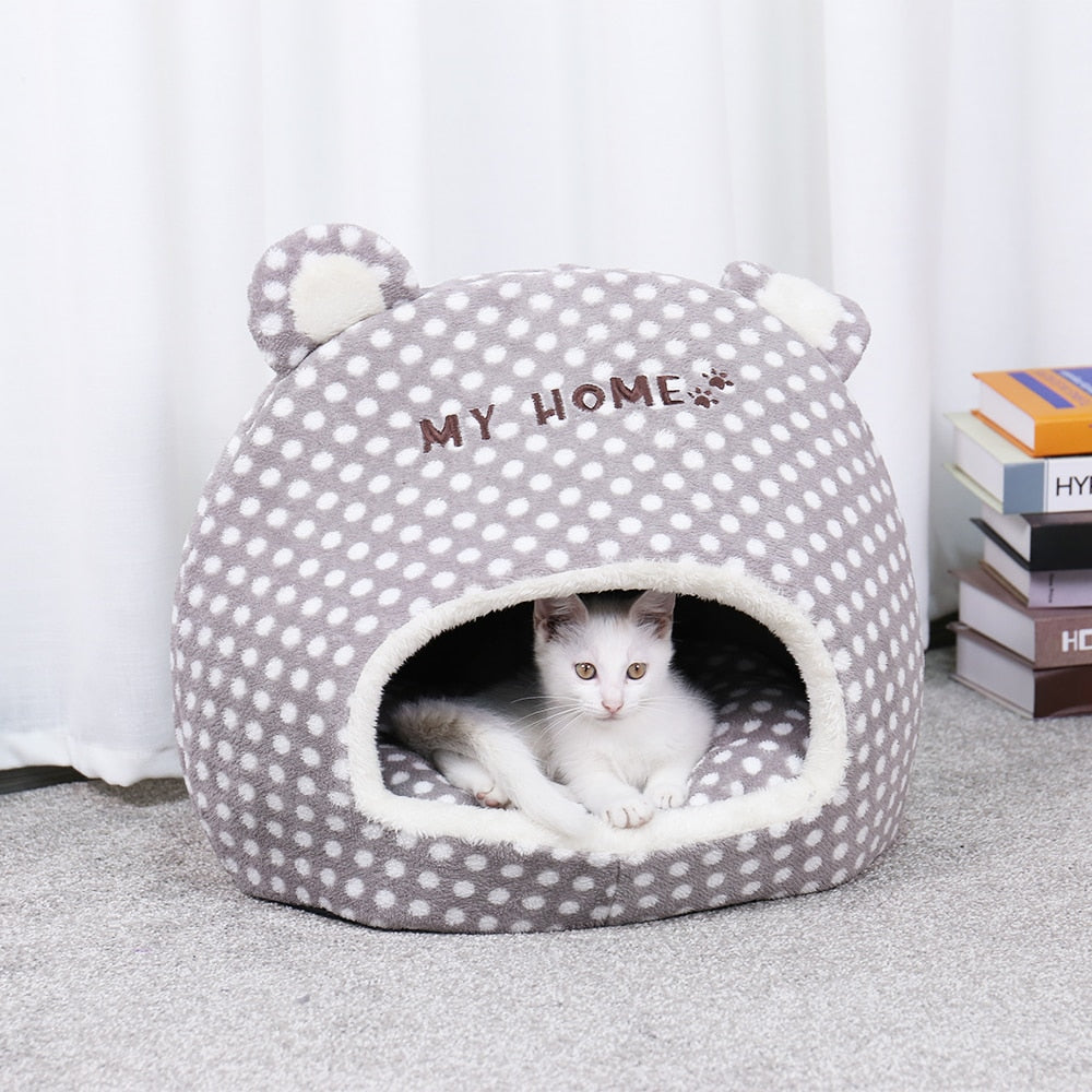 my home pet house with perked ears for cats and smaller dogs in color gray