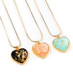 Dainty Heart Necklace, resin with gold flakes. 15 inch chain.