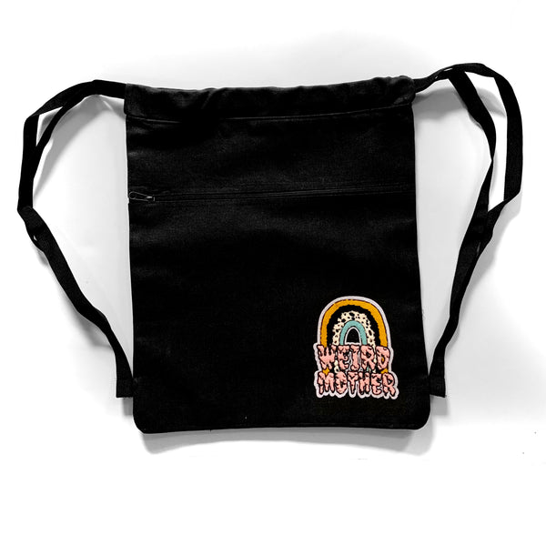 Weird Mother Rainbow on Heavyweight Black Canvas Cinch Backpack