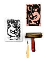 C GRADE Mom and Baby Block Ink Print, 5x7 print