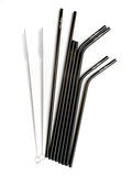 8 piece metal straw set with bag and pipe cleaners