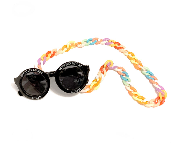 Eyeglass / Sunglass Chain, Chunky Acrylic Pastel Rainbow (SUNGLASSES NOT INCLUDED).