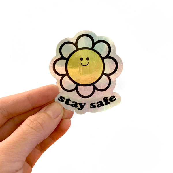 Stay Safe Daisy 3 inch Metallic Vinyl Sticker
