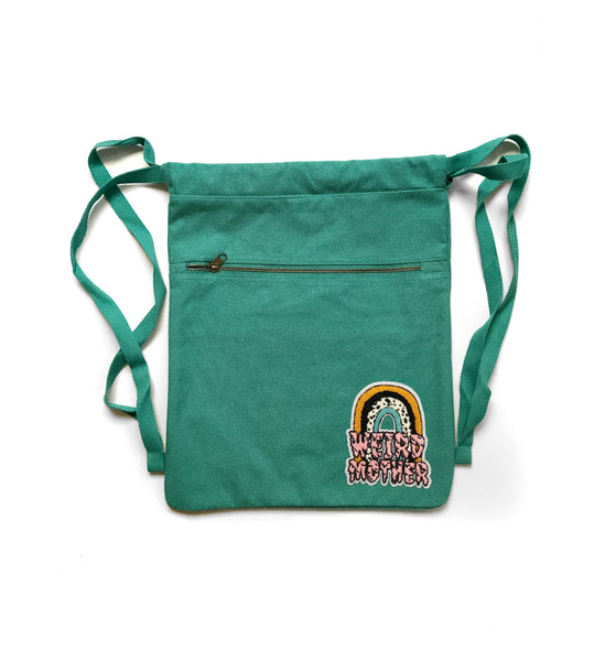 Weird Mother Rainbow and Seafoam Green Cotton Cinch Backpack