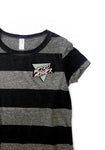 Weird Mother 90s 3 color Pocket Print, Gray and Black Striped Women's Cut Shirt