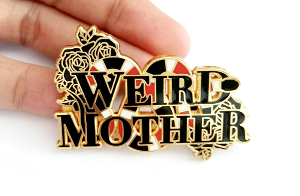Weird Mother Snake Gold Pin, 2 inches wide