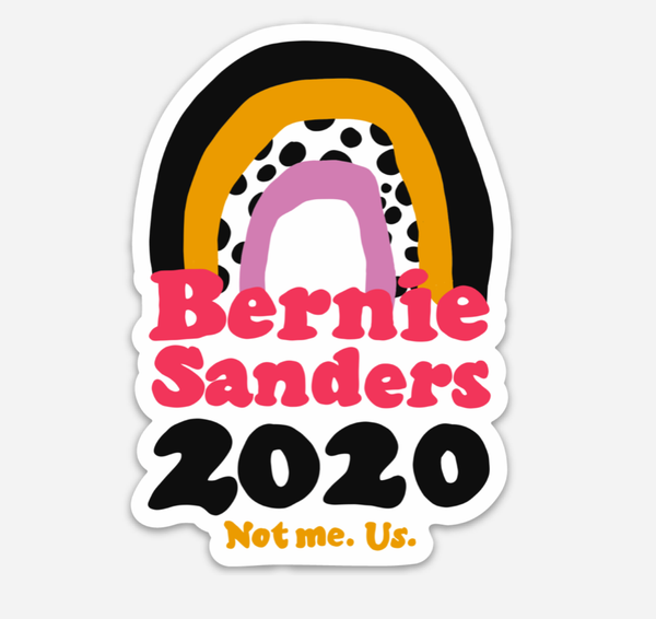 Bernie Sanders Vinyl Sticker, 4x2 inches. (Hand drawn rainbow).