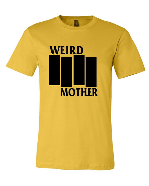 Weird Mother on a maize gold shirt.